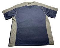 ⭐️Reebok Men's Sz 3XL Polyester Stretch T Shirt Colorblock Blue Gray V-Neck⭐️