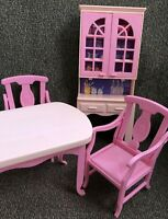 Vintage 1994 Barbie Doll Dining Room Kitchen Hutch Table 2 Chairs Mattel Pink