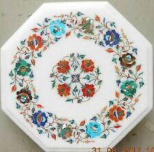 2'x2' white marble table top dining center room decor inlay lapis malachite