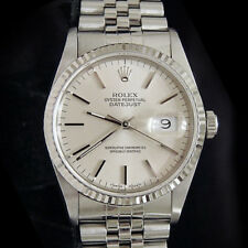 Rolex Datejust Mens Stainless Steel 18K White Gold Jubilee Silver No Holes 16234