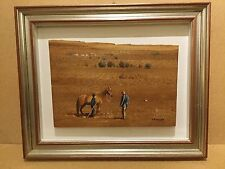 Interesting Painting of Horse, Man and Boy on Wood Block - Signed