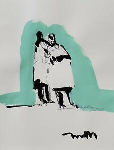 JOSE TRUJILLO ORIGINAL Art SIGNED ACRYLIC on Paper PAINTING MODERNIST 9X12