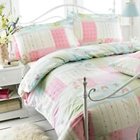 GREAT KNOT POLY COTTON PINK GREEN PATCH WORK FLORAL DUVET COVER SET SINGLE