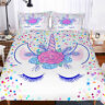 3D Kids Flowers Unicorn Eye Bedding Set Duvet Cover Comforter Cover Pillow Case