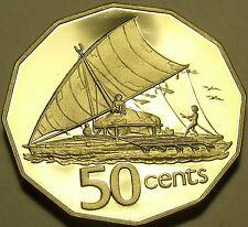 HUGE RARE FIJI 1980 PROOF 50 CENTS~ONLY 2,500 MINTED~SAILBOAT TAKIA~FREE SHIP~