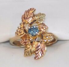 Black Hills Gold Blue Topaz Six Leaves Long Ring 10kt 12kt Coleman Size 6