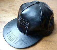 c03bbb154c8 Stussy Mens Black Faux Leather Script Logo Snapback Hat Cap EUC