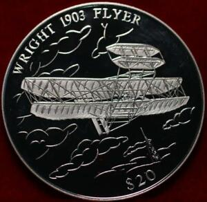 Uncirculated Proof 2000 Liberia .999 Silver $20 Wright Flyer Foreign Coin