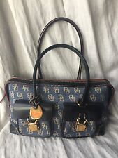DOONEY AND BOURKE HANDBAG NAVY AND GOLD EXTERIOR, RED INTERIOR