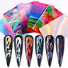 Fire Nail Stickers Hollow Stencils Holographicss Transfer Nail Foil Decals Decor