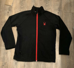 Spyder Boys Youth BLACK RED Full Zip Sweater Jacket Size M 14/16