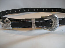 MENS/LADIES LEATHER BLACK WESTERN BUCKLE/ CONCHO BELT