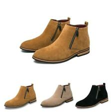 Men Casual Work Suede Leather Pointy Toe Ankle Chelsea Boot Zipper Shoes Stylish