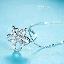 925 sterling silver simulated diamond pendant chain necklace flower