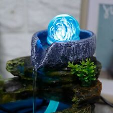 LED Rockery Resin Water Fountain Home Office Tabletop Fengshui Decor EU 220-240V