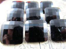 "Vintage LOT of 9 Faceted BLACK JET Square Buttons 3/4"""