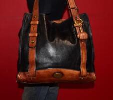FOSSIL VINTAGE REISSUE N/S Black Brown Leather Tote Purse Shopper Shoulder Bag