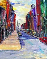 Original OILPainting Arthur Robins NYC Cityscape BELOW CANAL STREET Soho Streets