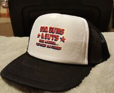 Retro Vintage Trucker Mesh God, Guns and Guts Hat  NRA