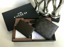 Coach Mens Bifold wallet compact ID key fob gift set 010