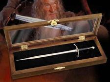 LOTR HOBBIT GANDALF REPLICA GLAMDRING SWORD LETTER OPENER + WOOD DISPLAY NEW