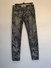 Hollister Womens Skinny Jeans Size 24x31 Gold Print Boho Festival Design Stretch