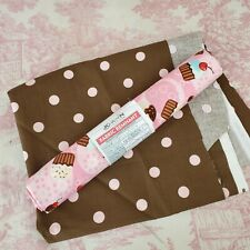 Random Cupcake Pink Brown Polka Dots Fabric Scraps AS-IS Quilter Sewing Crafts