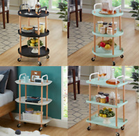 3 Tier Organizer Trolley Cart Utility Rolling Storage Rack Holders With Wheels