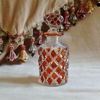 ANTIQUE BOHEMIAN AMBER FLASH SCENT BOTTLE Victorian Glass Perfume Bottle