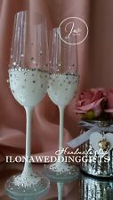 Swarovski Crystal Personalized Wedding Toast Champagne Glass Flutes Silver Bling