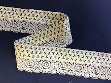 HOLLY BERRIES FABRIC TRIM WITH ECRU LACE-- 3 1/2 YARDS
