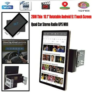 2DIN 10.1'' Rotatable Android 9.1 Touch Screen Quad Car Stereo Radio GPS Wifi