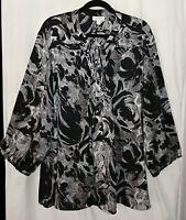 Gray, Black & White 4X FASHION BUG ** Poly Microdot Inverted Floral Print Blouse
