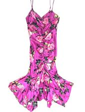Vintage Betsey Johnson NY Dress 4 Pink Rose Floral 100% Silk Ruffle USA