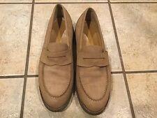 Men's LL Bean Vibram Gum Lite Sole Beige Suede Loafer Shoe Size 11 D