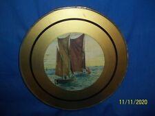 "Antique Flue Cover 2 Fishing Boats Junkets? 10"""