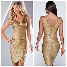 A13 Venus Size Large Gold Metallic Slimming   Bandage style Dress