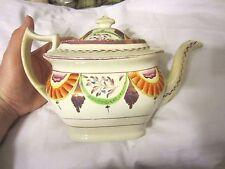 Staffordshire Gaudy Teapot Pink Luster-ware Drape Cream Pearl Ware 1820 NR
