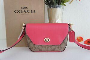 NWT Coach C2816 Karlee Crossbody Bag in Signature & Leather Khaki Fuchsia $298