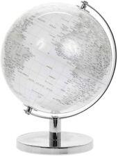 27cm Silver White World Globe Vintage Rotating Atlas Office Desk Ornament Home