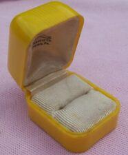 Vintage Antique Art Deco Celluloid Rare Yellow Presentation Engagement Ring Box