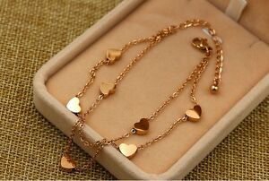 Adjustable Rose Gold Stainless Steel Heart Anklet Foot Ankle Chain Bracelet Gift