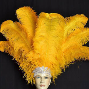 100 pcs real natural ostrich feather Gold 18-20 inches/45-50 cm home decoration