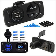 2 Hole Panel Car Boat 2-USB Charger Blue LED Digital Voltmeter Meter Waterproof