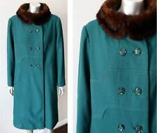 Mink Worsted Wool Vintage 60s Green Mod Go Go Double Breast Coat M