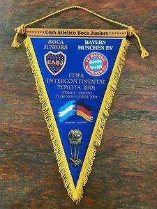 Boca Juniors vs Bayern Munchen 2001 pennant. Toyota cup Intercontinental. Japan