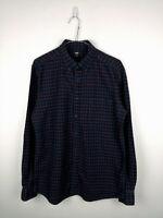 Mens Flannel Shirt UNIQLO Size M Black Check 100% Cotton Button Up Long Sleeve