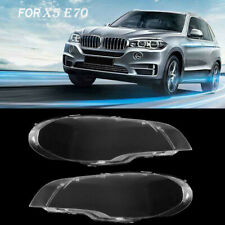 Pair Headlight Lenses Clear Lamp Cover Lampshade Bright For BMW X5 E70 2007-2012