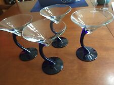 4 Water Glasses, Bubble Glass - Different Colored Bowls  Red, Blue, Green, Clear