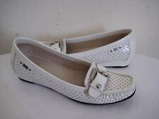 STUART WEITZMAN  White Perforated Patent Leather Loafer Low Wedge Shoes Size 7 M